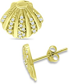Cubic Zirconia Clam Shell Stud Earrings in 18k Gold-Plated Sterling Silver, Created for Macy's