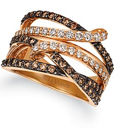 Chocolate Diamonds® (7/8 ct. t.w.) & Nude Diamonds® (1/2 ct. t.w.) Statement Ring in 14k Rose Gold