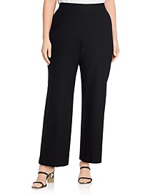 Stretch Crepe Straight Pants
