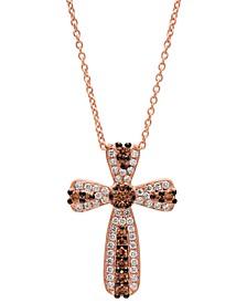 "Chocolatier® Vanilla Diamond (1/5 ct. t.w.) & Chocolate Diamond (1/4 ct. t.w.)Cross 18"" Pendant Necklace in 14k Rose Gold"