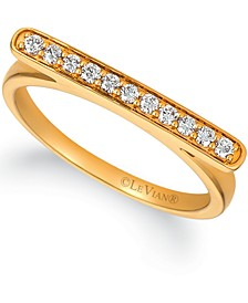 Nude Diamond Horizontal Bar Statement Ring (1/5 ct. t.w.) in 14k Gold
