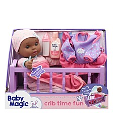 Crib Time Fun Play Set with Toy Baby Doll Makes 6 Sounds