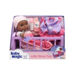 Baby Magic Crib Time Fun Play Set with Toy Baby Doll Makes 6 Sounds