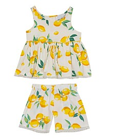 Little Girls Lemon Printed Woven Ruffle Top with Shorts Set