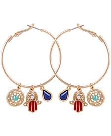 Gold-Tone Crystal & Stone Hamsa Hand Charm Hoop Earrings