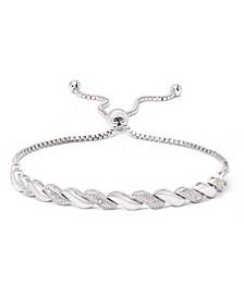 Diamond Accent San Marco Link Bolo Adjustable Bracelet in Rose Plate