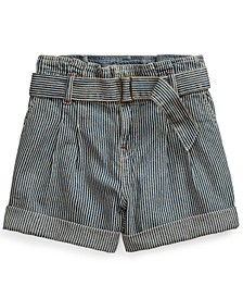 폴로 랄프로렌 Polo Ralph Lauren Big Girls Belted Cotton Denim Paperbag Shorts,Leanna Wash
