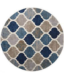 """Haven Hav10 Blue and Multi 5'2"""" x 5'2"""" Round Rug"""
