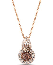 "Chocolate Diamond (1/2 ct. t.w.) & Nude Diamond (1/3 ct. t.w.) 18"" Pendant Necklace in 14k Rose Gold"