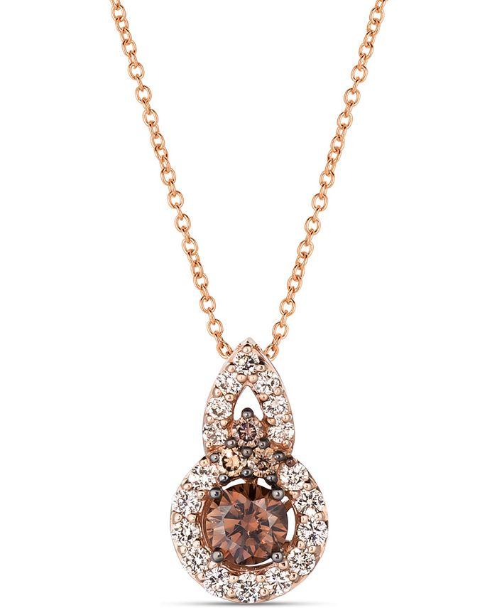 "Le Vian - Chocolate Diamond (1/2 ct. t.w.) & Nude Diamond (1/3 ct. t.w.) 18"" Pendant Necklace in 14k Rose Gold"