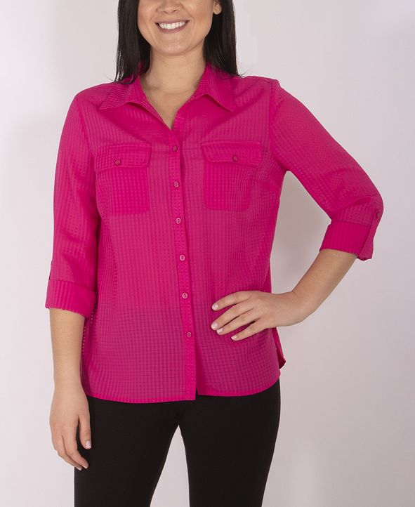 NY Collection Women's Plus Size Utility Shirt