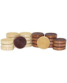 Set of 24 Stackable Wood Grooved Checkers - 1.5""