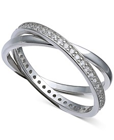 Cubic Zirconia Crisscross Ring in Sterling Silver, Created for Macy's