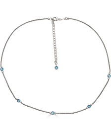 "Swiss Blue Topaz Popcorn Link Statement Necklace (1-3/4 ct. t.w.) in Sterling Silver, 18"" + 2"" extender"