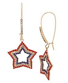 "Star Long Drop Earrings in Gold-tone Metal, 2.5"""