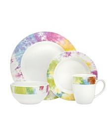 Tie Dye Multi Color 16-PC Dinnerware Set