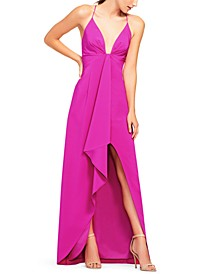 Cascade-Ruffle High-Low Gown