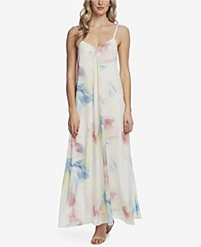 Women's Sleeveless Invert Pleat Watercolor Maxi Dress