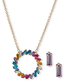 Anne Klein Gold-Tone Multicolor Crystal Circle Pendant Necklace & Stud Earrings Set, Created for Macy's