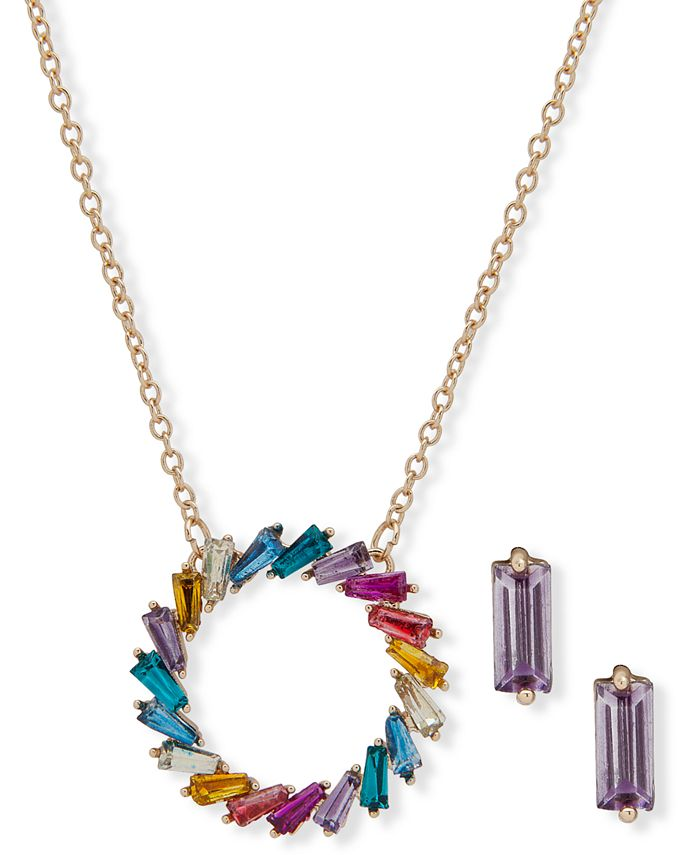 Anne Klein - Gold-Tone Multicolor Crystal Circle Pendant Necklace & Stud Earrings Set