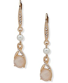 Gold-Tone Pavé, Stone & Imitation Pearl Drop Earrings