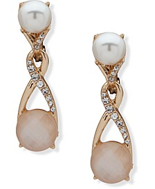 Gold-Tone Pavé, Stone & Imitation Pearl Clip-On Drop Earrings