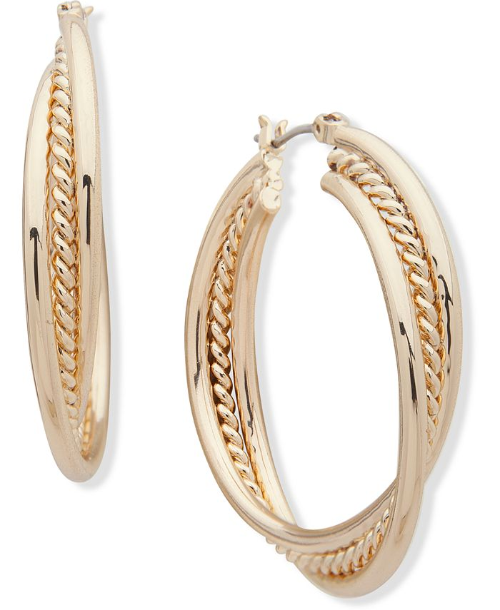 Anne Klein - Gold-Tone Medium Triple-Row Hoop Earrings, 1.5""