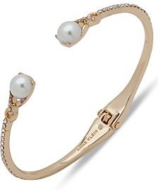 Gold-Tone Pavé & Imitation Pearl Cuff Bracelet