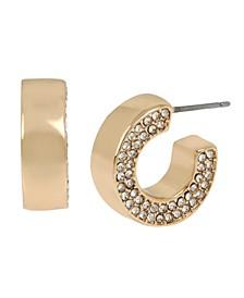 Gold-Tone Pave Flat Huggie Hoop Earrings