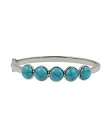 Silver-Tone Cabochon Hinged Bangle Bracelet