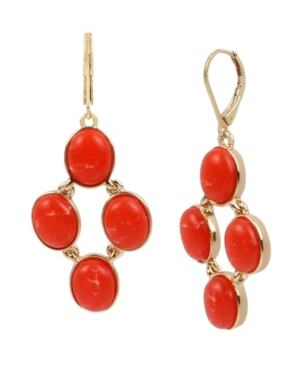 Kenneth Cole New York Gold-Tone Cabochon Statement Drop Earrings