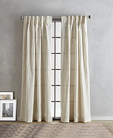 "Linen 32"" x 96"" Inverted Pleat with Button Curtain Set"