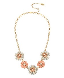 New York Woven Beaded Flower Frontal Necklace