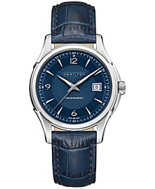 Men's Swiss Automatic Jazzmaster Viewmatic Blue Leather Strap Watch 40mm