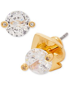 Gold-Tone Cubic Zirconia Mini 2-Prong Stud Earrings