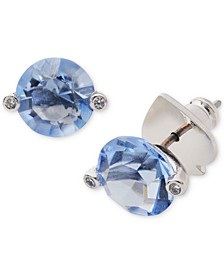 Silver-Tone Crystal 2-Prong Stud Earrings