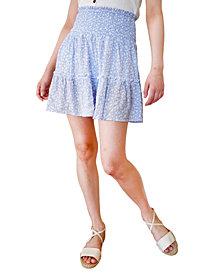 Hippie Rose Juniors' Printed Smocked-Waist Mini Skirt