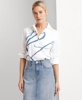 로렌 랄프로렌 Lauren Ralph Lauren Monogram Logo Cotton Shirt,White