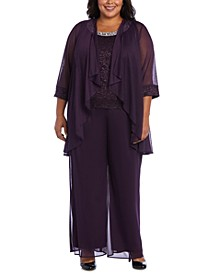 Plus Size 3-Pc. Jacket, Lace Top & Pants Set
