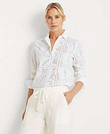 Patch-Eyelet Cotton Shirt