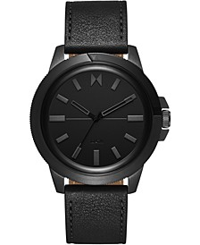 Men's Minimal Sport Black Leather Strap Watch 45mm