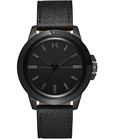 MVMT Men's Minimal Sport Black Leather Strap Watch 45mm