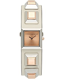Women's Jett Rose Gold-Tone Stud & White Leather Strap Watch 22mm