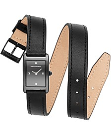 Women's Moment Black Double Wrap Leather Strap Watch 19x30mm