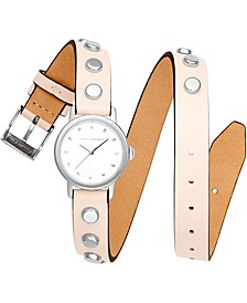 Women's BFFL Silver-Tone Stud & Blush Double Wrap Leather Strap Watch 25mm