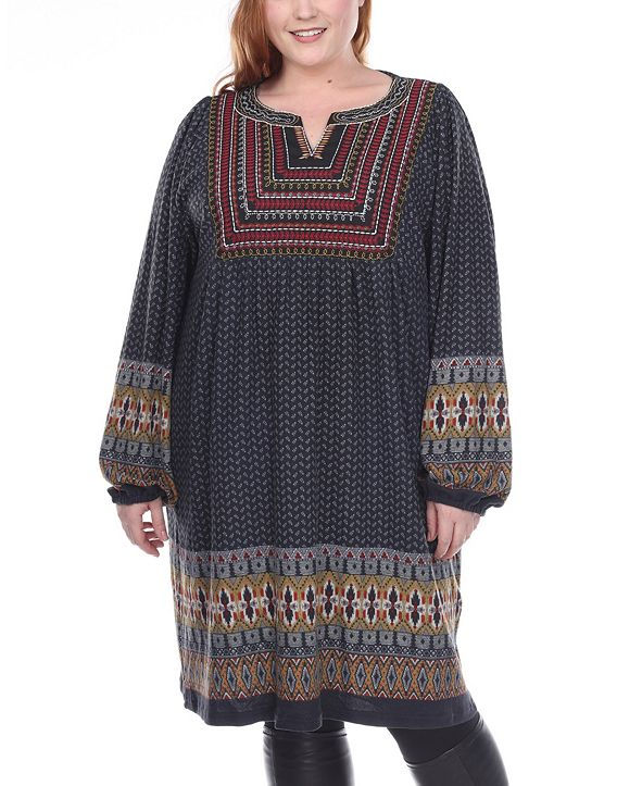 White Mark Women's Plus Size Atarah Embroidered Sweater Dress