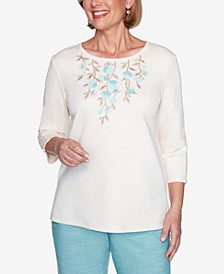 Three Quarter Sleeve Floral Applique Knit Top