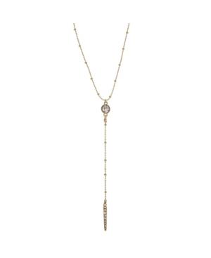 "Crystal Circle Bar 25"" Lariat Necklace"