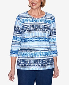 Three Quarter Sleeve Biadere Shimmer Knit Top