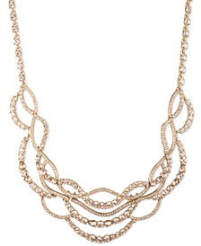 "Gold-Tone Crystal Twist Statement Necklace, 16"" + 3"" extender"